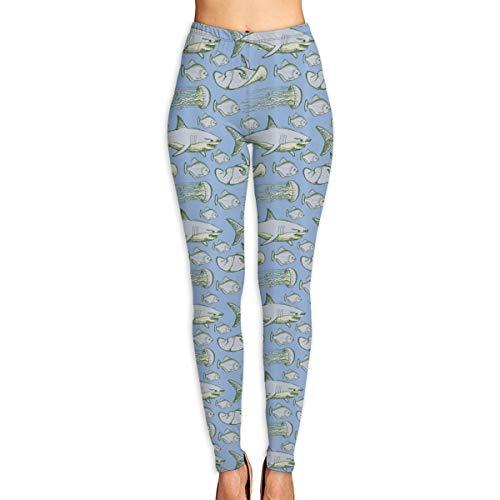 Stingray Cut Out (LeYue Women's Sea Creatures Swimming Flatfish Stingray and Jellyfish Yoga Pants Activewear Workout Leggings Sports Pants XL)