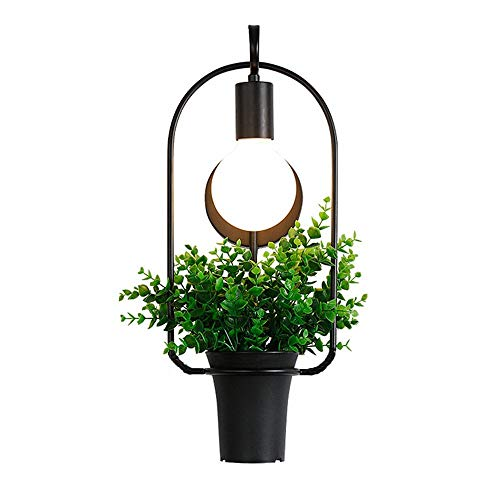 Liunce E27 Plant Flower Pot Wall Sconce Nordic Creative Iron Metal Wall Lamp Modern Simplicity Living Room Edison Wall Light Loft Balcony Corridor Aisle Wall Lantern 3W-40W
