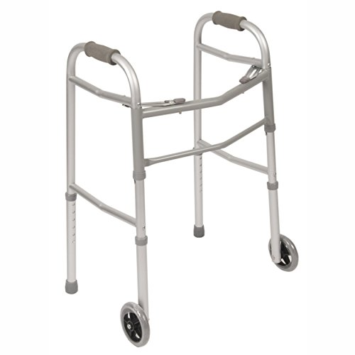 PCP Walker Mobility Aid, Folding, Adjustable, Lightweight Stability with Skis & Wheels, Grey, Adult Size