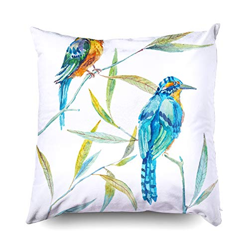 - TOMWISH Hidden Zippered 16X16Inch Two Birds Twigs Leaves Elegant Botanical Animal Isolated Paradise Birds Decorative Throw Cotton Pillow Case Cushion Cover for Home Decor