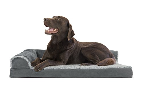 Furhaven Pet 44441087 Large Two-Tone Faux Fur & Suede Deluxe Chaise Lounge Orthopedic Sofa Pet Bed, Stone Gray