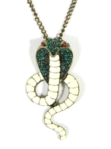 King Cobra Necklace Egyptian Pharaoh Snake Serpent Emerald Green Crystal Pendant