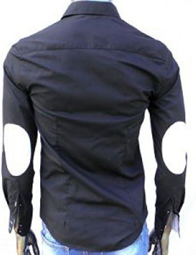 IRMAO Camisa para Hombre Negra con Coderas Negro Negro: Amazon.es: Ropa y accesorios