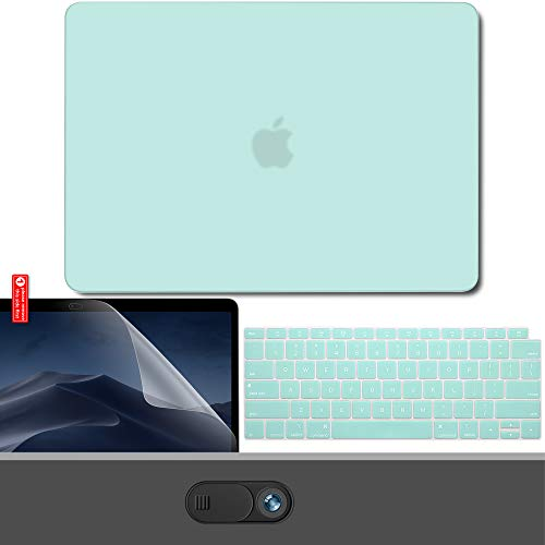 GMYLE MacBook Air 13 Inch Case 2018 Release A1932 with Retina Display, Plastic Hard Case Shell, Keyboard Cover and Screen Protector, Webcam Cover Compatible Newest Mac Air 13 with Touch ID, Mint Green ()