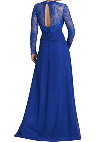 La_Marie Braut Elegant Royal Blau Spitze langarm Brautmutter Formale Abendkleider Partykleider Promkleider Lang