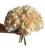 Artfen 5 Pack Artificial Hydrangea Flowers Fake Silk Bouquet Flower Home Hotel Wedding Party Decor Approx 14'' High Champagne