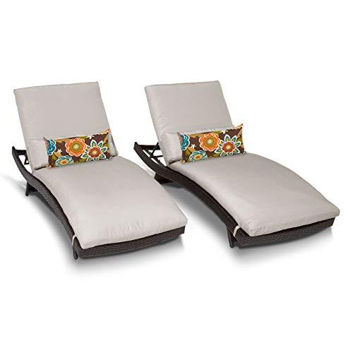 TK Classics Bali Chaise Outdoor Wicker Patio Furniture, Set of 2, Beige