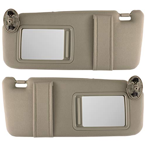 IAMAUTO 31133 New TAN/Beige Sun Visor Pair Left and Right for 2007 2008 2009 2010 2011 Toyota Camry Without Vanity Light