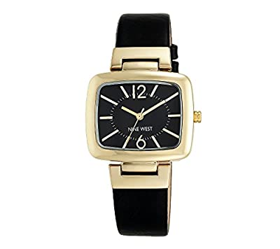 Nine West Black Strap Watch With Goldtone Modern Shaped TV Case