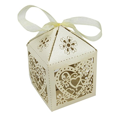 50PCS Luxury Wedding Party Sweets Cake Candy Gift Favour Favors Boxes (Love Heart, Ivory)