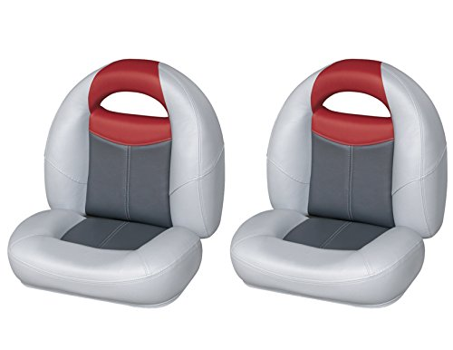 Wise 8WD1450-841 Blast-Off Tour Series Big Bass Bucket Seat 2-Unit Set, (Grey/Charcoal/Red)