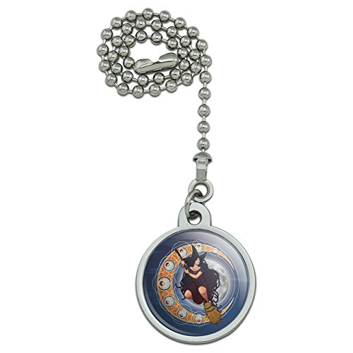 GRAPHICS & MORE Witch on Broom Over Moon Art Nouveau Style Ceiling Fan and Light Pull Chain