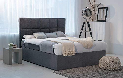 Dream Americano Cama con somier 180 x 200 Cama colchón muelles ensacados 7 Zonas y colchón de Espuma fría H2 hasta H3 Antracita Estados Unidos Luxe Hotel ...