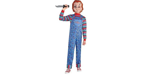 Party City Chucky Disfraz de Halloween para niños, juego infantil, incluye mono y máscara.