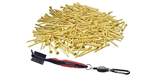 VersaGolf Bamboo Golf Tees 2-3/4 inch length with Cleaning Brush, 250 Count