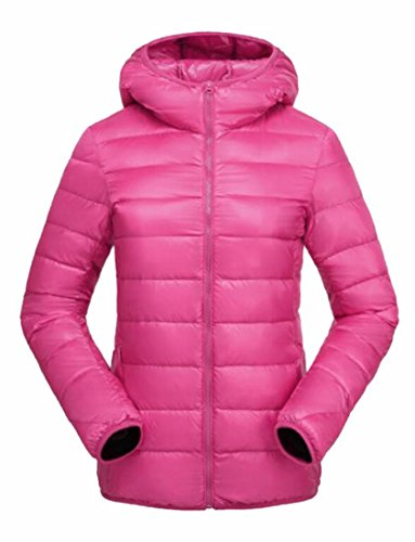 Generic Women's Light Packable Ultra Padded Hoodies Down Coats Rose Red