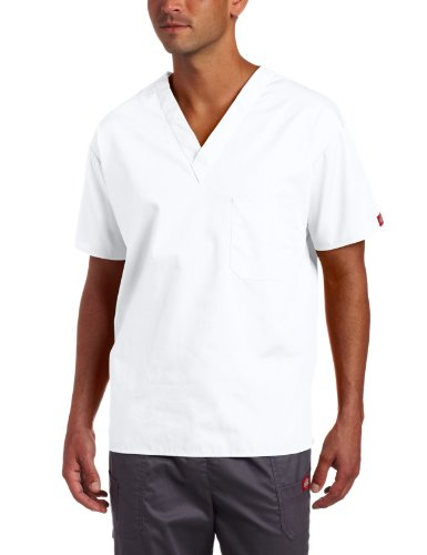 Dickies Everyday Scrubs Unisex V-Neck Solid Scrub Top,White,Large (Dickies Scrub Top Unisex)