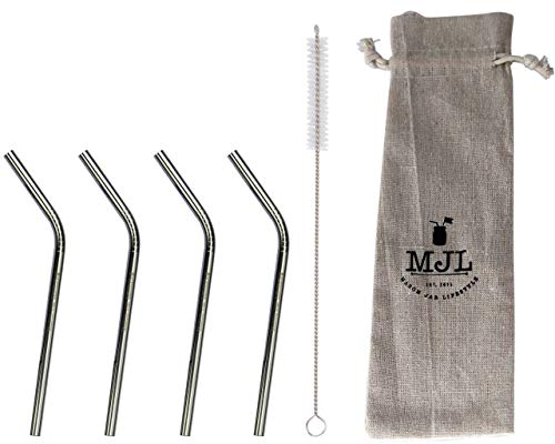 (Short Thin Bent Stainless Steel Straws for Cocktail Glasses, Kids, Small Cups, or Half Pint Mason Jars, 4 Pack + Cleaning Brush)