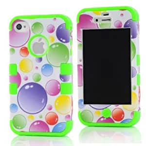 SHHR-HX4G40N Plastic+Silicone Colorful Rainbow Bubbles Design Hybrid case for Apple iPhone4 4s 4G -Green Color