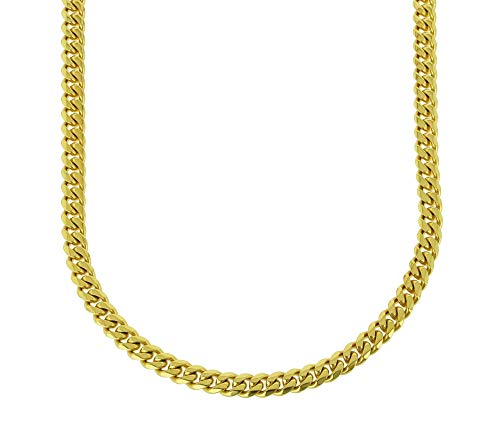 Bling Bling NY Solid 14k Yellow Gold Finish Stainless Steel 8mm Thick Miami Cuban Link Chain Box Clasp Lock (Chain 24'')
