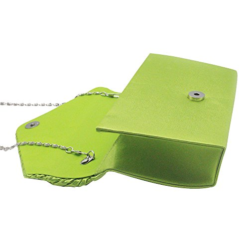 Green Apple Silver Satin Envelope Pleated Handbag Evening Clutch Classic Rhinestone Bag Cckuu Women Pq7PT