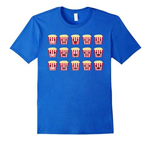 [Men's Popcorn Emoji Many Face Emotion Shirt Box Office T-Shirt Tee Large Royal Blue] (Pizza Delivery Man Costume)