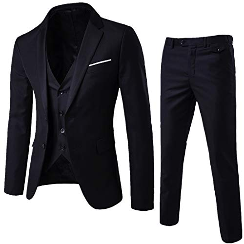 YIMANIE Mens Suit 3 Piece Single Breasted Jacket Two Button Slim Fit Blazer Tux Vest&Trousers, Black, Small