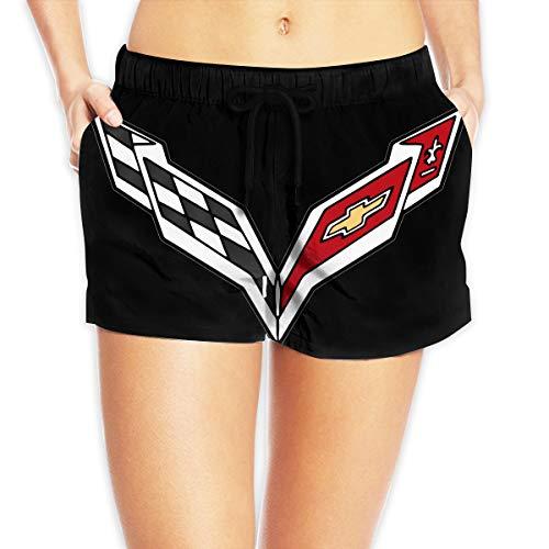 - Womens CorvetteLogo Board Shorts Sexy Hot Pants Summer Casual Print Beach Shorts White