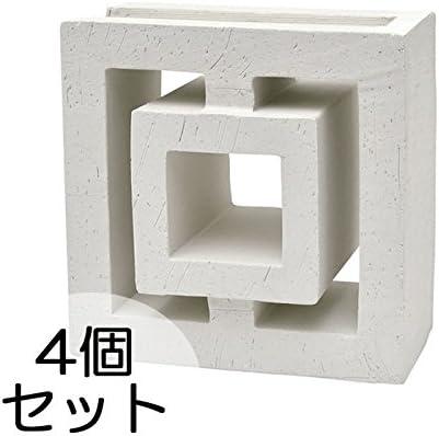 ブロック せっき質無釉ブロック ポーラスブロック200コーナー 190Hタイプ 白土(配筋溝あり・1面フラット) 4個セット単位 屋外壁