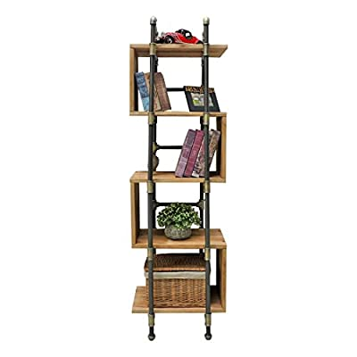 Furniture Pipeline Tucson Modern Industrial Etagere Bookcase Display - This 69-inch tall bookcase/etagere is a narrow space saving accent piece Perfect for displaying and storing books plants and decor items in any area of your home or office Its frame is built from recyclable aircraft grade aluminum industrial pipes and fittings - living-room-furniture, living-room, bookcases-bookshelves - 41gmOb1jOKL. SS400  -