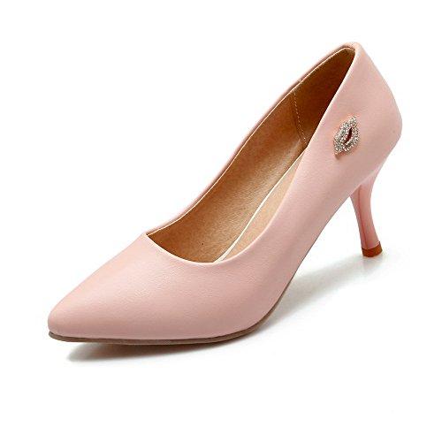 AllhqFashion Damen Spitz Zehe Eingelegt Weiches Material Hoher Absatz Pumps Schuhe, Schwarz, 41