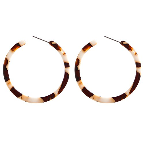 Vintage Shell - BaubleStar Tortoise Shell Resin Hoop Earrings Acrylic Round Circle Dangle Amber Ear Drops Fashion Jewelry for Women Girls B0106W
