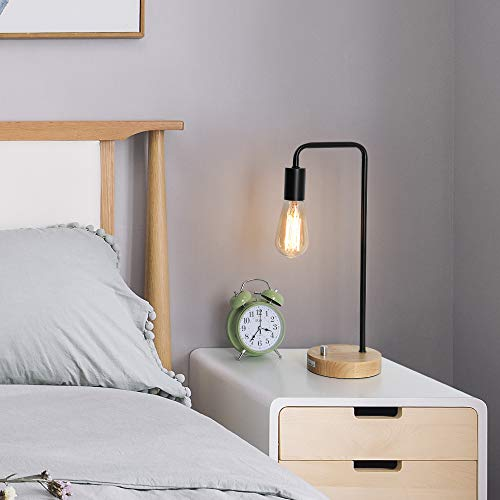 HAITRAL Desk Lamp Wooden Industrial Table Lamp for Office, Bedroom, Living room by HAITRAL (Image #2)