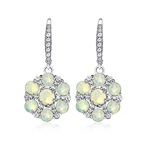 (Sterling Silver Ethiopian Opal and White Topaz Flower Dangle Leverback Earrings)