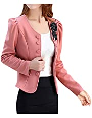 Women's Puff Sleeve Blazer Business Casual Plus Size Suit Jacket Elegant Fitted Buttons Office Lady Fall Fashion Coat