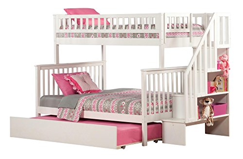 (Atlantic Furniture AB56752 Woodland Staircase Bunk Bed with Urban Trundle Bed, Twin/Full, White)
