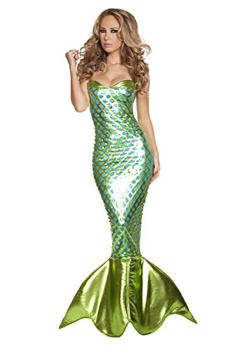 [1 Piece Sexy Mermaid Sea Siren Lace Up Tube Green Dress w/Tail Costume] (Sea Siren Sexy Costumes)