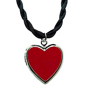 Bijoux De Ja Rhodium Plated Color Enamel Heart Locket Pendant Cord Necklace 18 Inches. (Red)