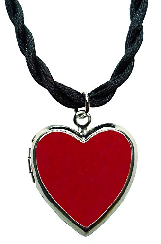 Bijoux De Ja Rhodium Plated Color Enamel Heart Locket Pendant Cord Necklace 18 Inches. - Dubai Tiffany