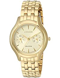 Womens Silhouette Japanese-Quartz Watch with Stainless-Steel Strap, Gold, 15 (