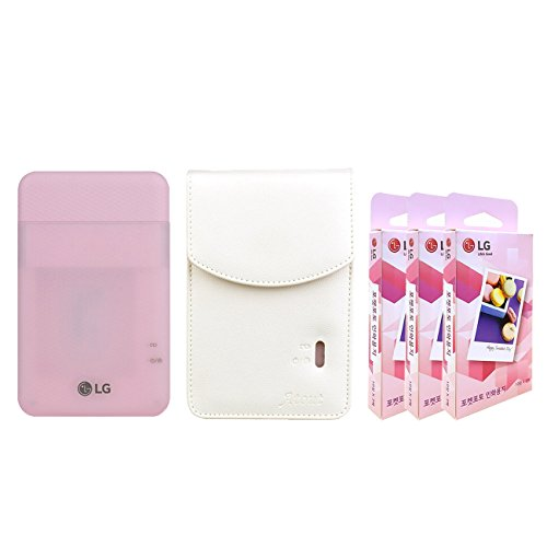 LG PD261 Portable Mobile Pocket Photo Printer [Pink] + Zink Paper 90 Sheets + Atout Premium Synthetic Leather Case [White] With Gift USB Cable [International Version]