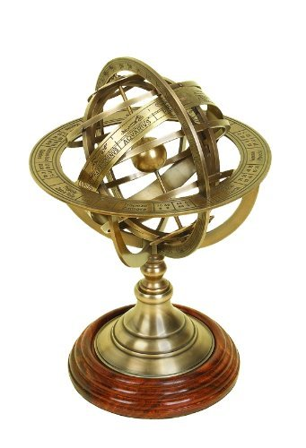 Marine Nauticals Astronomical Brass Engraved Brass Tabletop Armillary Nautical Sphere Globe Fathers day gift items ()