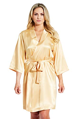 (Jovannie Women's Satin 3/4 Sleeve Plus Size Kimono Robe with Matching Sash Regular/Long Length (L, Gold))