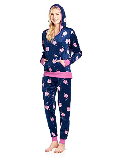 Ashford & Brooks Women's Mink Fleece Hoodie Pajama Set - Navy Pink Flamingo - Medium