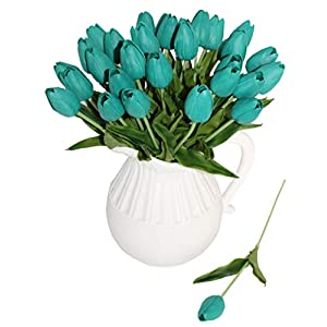 ALIERSA En Ge 10-Heads Home Deocr Mini Tulip Real Touch Tulip Artificial Flowers Bouquets (Dark Teal) 43