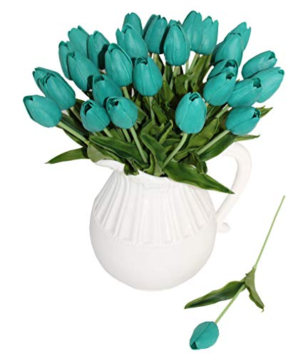 ALIERSA En Ge 10-Heads Home Deocr Mini Tulip Real Touch Tulip Artificial Flowers Bouquets (Dark Teal) (Decor Teal Table)