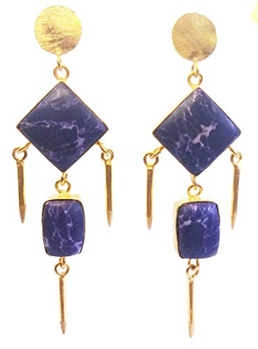 Purple Agate Dangle Earrings, Vermeil Brass Earrings, Ladies Antique Gemstone Earrings