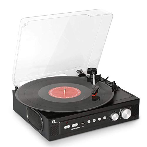 1byone Belt-Drive 3-Speed Mini Stereo Turntable with Built in Speakers, Supports Vinyl to MP3 Recording, USB MP3 Playback, Stereo Headphone Jack, Pitch Control and RCA Output, ()