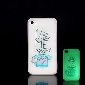 YULIN Funda Trasera - Gráficas/Diseño Especial/Fosforescente - para iPhone 4/4S Plástico )