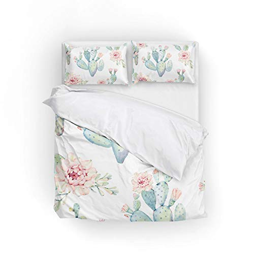 Cooper girl Watercolor Cactus Duvet Cover Set King Soft Microfiber Polyester 1 Duvet Cover and 2 Pillow Shams Three Piece